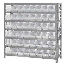 "Quantum Storage Systems 1239-101CL Clear-View Shelf and Bin Unit, 48 QSB101 Shelf Bins, 12"" D x 36"" W x 39"" H from Quantum Storage Systems"