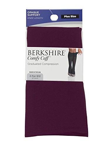 Berkshire Women's Opaque Graduated Compression Trouser Sock, Plum, Plus Size (Microfiber Opaque Trouser Sock)