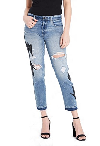Juicy Couture BLACK LABEL Women's Patched Denim Jean, Light Wash, 27 by Juicy Couture