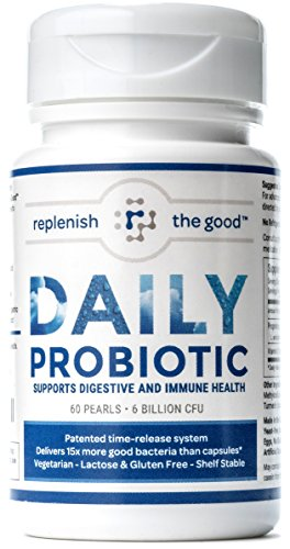 Daily Probiotic 60-Day Supply Time Release Pearls. 6 Billion CFU, Delivers 15X More Good Bacteria- 6 Strains That Relieve Bloated Stomach & Acid Reflux. Daily Intestinal, Digestive & Brain Health