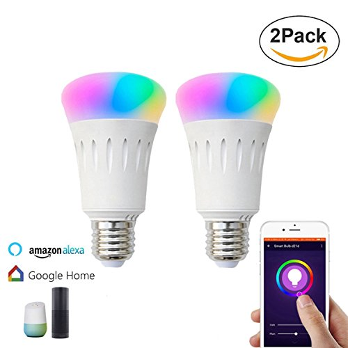 2Pack Smart Bulb Compatible with Alexa,Google Home,Wifi Smart Light Bulb,Dimmable,Timer Switch,Multicolored,No Hub Required,Remote Control,Scene Mode,Wake Up Lights Function