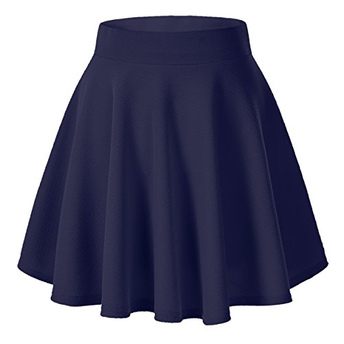 (Urban CoCo Women's Basic Versatile Stretchy Flared Casual Mini Skater Skirt (XS, Navy Blue))