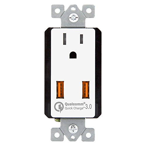 - TOPGREENER 36W Quick Charge 3.0 USB Wall Outlet, Compatible with Samsung S9/S8/S7 Note 9/8/7, Iphone XS/MAX/XR/X/8/7, LG Nexus, HTC 10 & other smarthphones, UL Listed, TU1152QC3, White