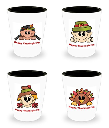 Happy Thanksgiving Shot Glass Set of 4 Turkey Pilgrim Scarecrow Native American Indian Gift