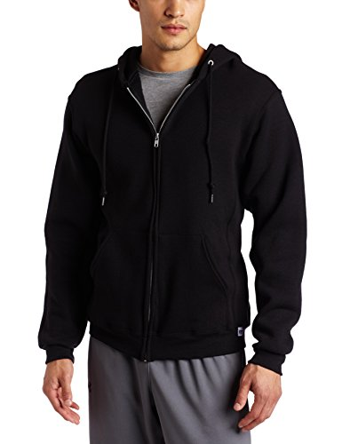 Black Zip Sweat - Russell Athletic Men's Dri Power Full Zip Fleece Hoodie, Black, Large