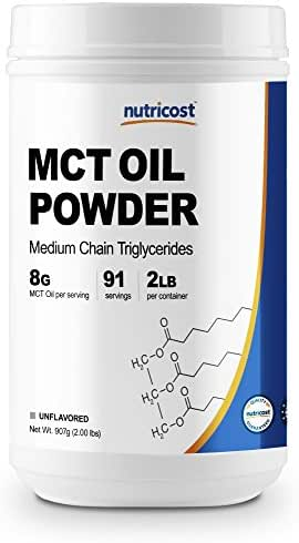 Nutricost MCT Oil Powder 2LBS (32oz) - Great for Ketosis and Ketogenic Diets - Zero Net Carbs - Made in The USA, Non-GMO + Gluten Free
