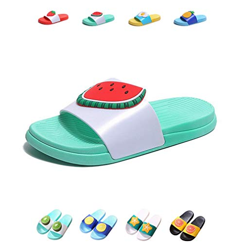YUHUAWYH Kid Boy Girl Cute Bath Slippers Summer Beach Sandals Women Men Indoor Shower Shoes Colorful Fruit Slippers for Family