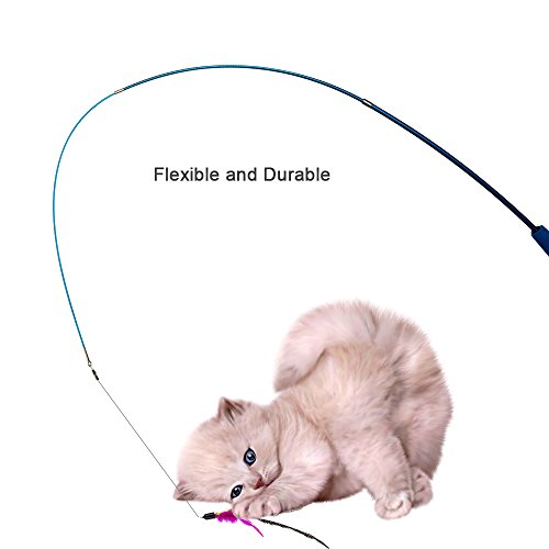 Depets Feather Teaser Cat Toy, Retractable Cat Feather Toy Wand with 5 Assorted Teaser with Bell Refills, Interactive Catcher Teaser for Kitten Or Cat Having Fun Exerciser Playing 6