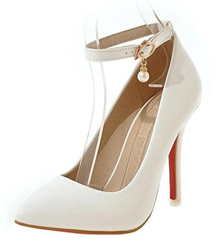 Elégant Femme Blanc Haut Talon Bride Perles Easemax Cheville Escarpins 6wqSy5