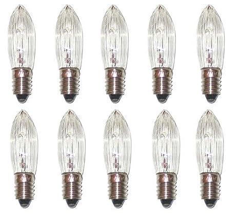 3er Pack Ersatz LED Riffelkerze klar E10 Glühbirne Topkerze für Lichterkette