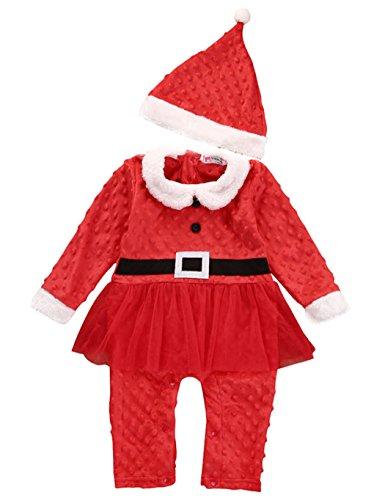 Jingjing1 Cute Baby Girl Boy Long Sleeve Christmas Costume Set Jumpsuit Outfits Sleepwear (100, Girl)