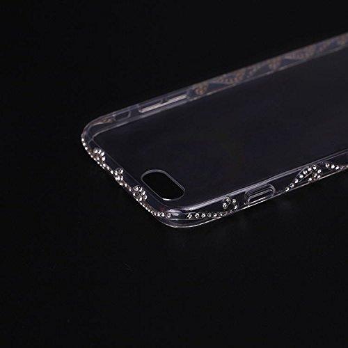 Wkae iphone 6 / 6s, luxe crystal tendance claire diamand paillettes shiny 3d caoutchouc silicone mou cas tpur couverture de peau cas pour iphone 6 / 6s Wkae Case Cover ( Size : IPhone 6/6S )