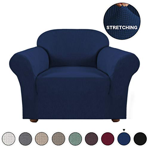 Turquoize High Stretch Sofa Cover 1 Piece Furniture Protector Sofa Cover Navy Chair Covers for Living Room Durable Spandex Fabric with Jacquard Pattern Spandex Sofa Slipcover (Navy, Chair Cover) (Living Furniture Room Navy)