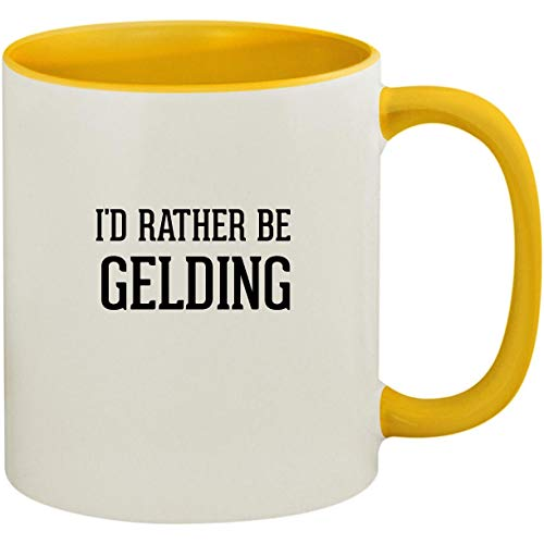 I'd Rather Be GELDING - 11oz Ceramic Colored Inside and Handle Coffee Mug Cup, Yellow ()