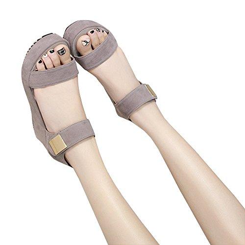 Sandali Piattaforma Chuanqi Donna Open Peep Toe Moda Cinturino Alla Caviglia Grigio