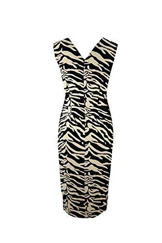 Denny Rose Vestito Donna 821DD10034 zebrato Bianco Nero