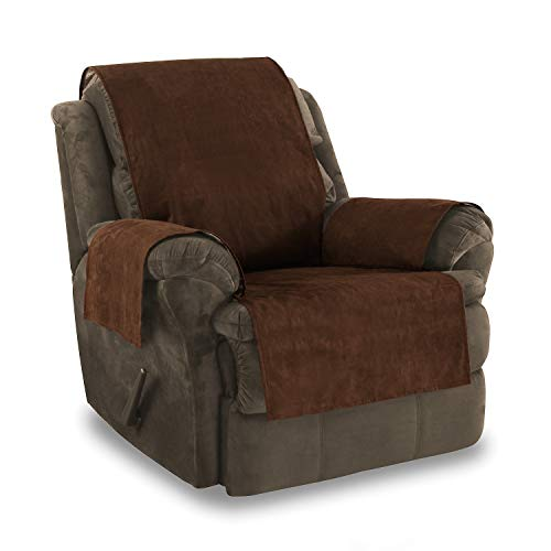 Link Shades Anti-Slip Grip Furniture Protector, Chair Cover, Slipcover, with Stay Put Straps and Water Resistant Microsuede Fabric. Protects from Dogs. (Recliner, Chocolate) ()