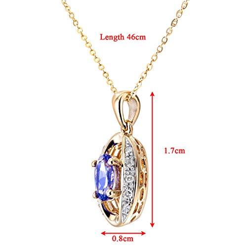 Revoni Bague en or jaune 9carats-Tanzanite-Diamant Collier avec chaîne 46cm