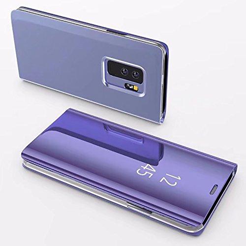 Coque Galaxy S9 Plus Clapet, Herzzer Housse Étui en PU Cuir Luxe Placage Technologie avec Transparente Miroir Design Bumper Dur PC Backcover Protector Fonction Stand pour Samsung Galaxy S9 Plus - Violet