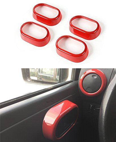 Opar Red Door Handle Trim for 2007 - 2010 Jeep JK Wrangler Unlimited 4-Door