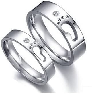 0e27f9f900 Buy Girlz! Silver Metal Titanium Couple Matching Little Footprints Love  Wedding Rings (2 Pieces -For Men And Women ) Online at Low Prices in India  | Amazon ...