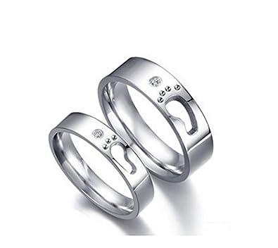 Girlz Silver Metal Titanium Couple Matching Little Footprints Love