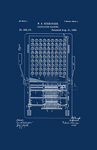 Póster original de Patentado con marco impreso con diseño clásico de Erkels Bestie de Calculadora de 28 x 43 cm de Patente...