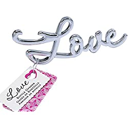 dngcity Love Antique Shaped Beer Bottle Opener Bridal & Baby Shower Wedding Favor (Silver, 20)