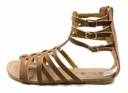 Charles Albert Free Reign Womens Back Zip Buckle Gladiator Strappy Vegan Leather Sandal (Wide Width) Cognac vvioXc