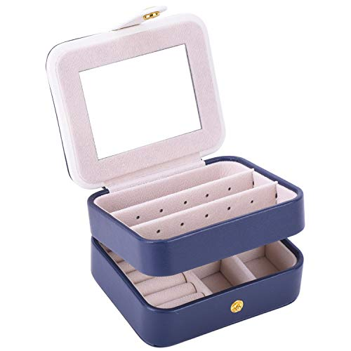 Autoark Leather Small Jewelry Box Portable Travel Case Organizer with Built-in Mirror,Makeup and Accessories Storage Organizer Case,Gift for Girls & Women,Navy Blue,AW-037 ()