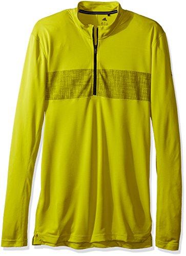 (adidas Outdoor Men's Half Zip Long Sleeve T-Shirt, Unity Lime, Medium)