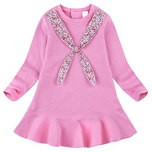 (BomDeals Cute Toddler Girl Floral Print Bunny Stripe Dress, Adorable Kids Sweet Shirt Top and Skirt Patchwork Dress (106/Pink,120))