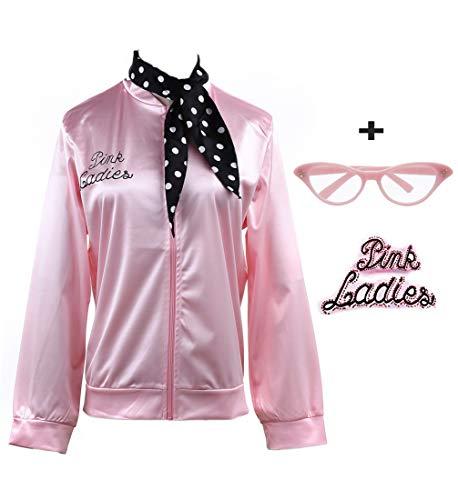 zhongyichen 1950s Pink Satin Jacket with Neck Scarf T Bird Halloween Costume (L, Rhinestone Pink) -
