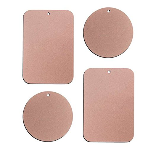 - Metal Plate with 3M Adhesive Back for Magnetic Car Mount Cell Phone Holder GPS and Tablet Holder (2 Rectangle & 2 Round) (Rose Gold)