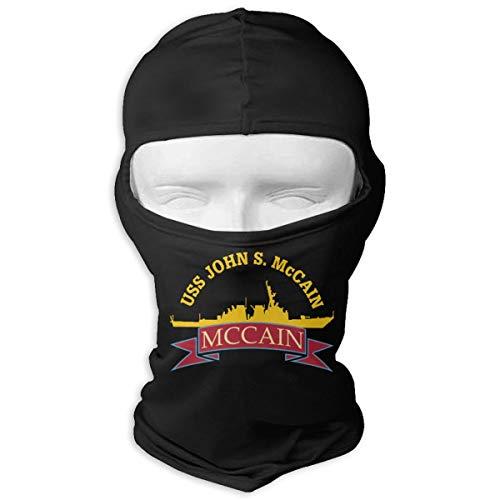 (John S McCain DDG-56 McCain Funeral Balaclava Full Face Mask Windproof Ski Face Mask Hiking Skateboard Balaclava White)