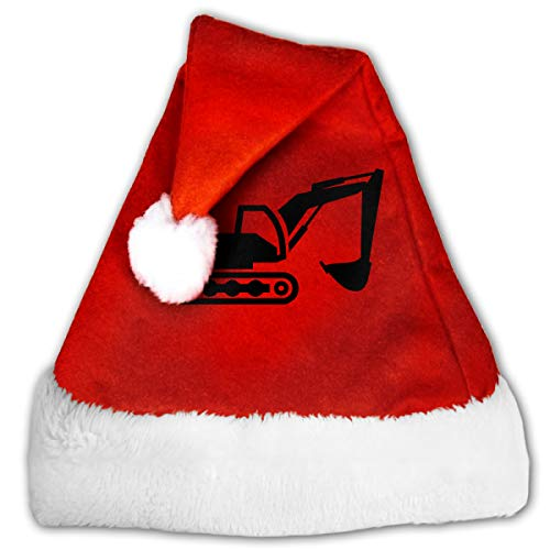 Digger Silhouette 2 Christmas Hat, Red&White Xmas Santa Claus' Cap for Holiday Party Hat ()