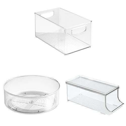 5 Piece Lazy Susan - InterDesign 3-Piece Storage Set: Storage Bin with Handles, Lazy Susan Turntable & Fridge Binz Soda Holder – Clear