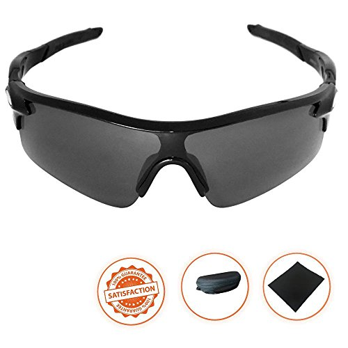 Amazleer Polarized Sports Sunglasses, Solar Shield Wayfarer Goggles, 100% UV Protection, Dark Fashionable Style for Cycling, Fishing, Baseball, Hiking, Driving, Running, Golf (Black - Uv Protection Meaning 100