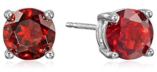 - Amazon Essentials Sterling Silver Round Garnet Birthstone Stud Earrings (January)