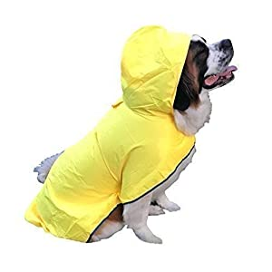 HugeHounds Extra Large Dog Raincoats for Large Dogs – XL Yellow Dog Raincoat with Hood – Waterproof – Includes a Carry Pouch