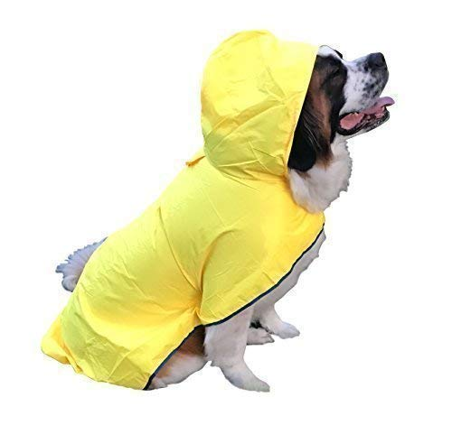 HugeHounds Extra Large Dog Raincoats for Large Dogs - XL Yellow Dog Raincoat with Hood - Waterproof - Includes a Carry Pouch