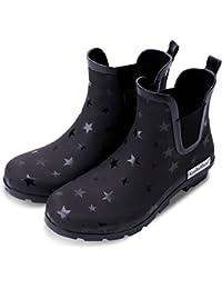 Women's Matte and Light Ankle Rain Boot Rubber Elastic Rain Booties
