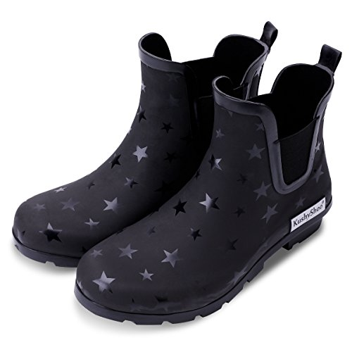(KushyShoo Women's Matte and Light Ankle Rain Boot Rubber Elastic Rain Booties)