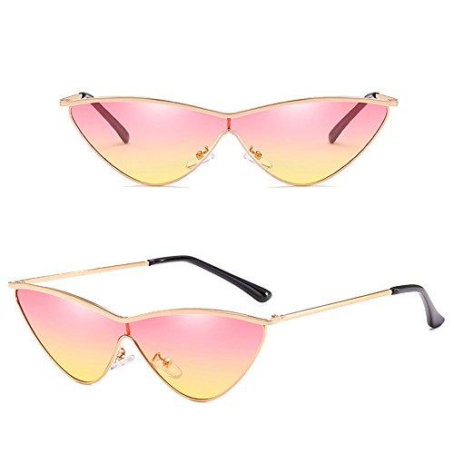 de fille de de extérieures Cateye mode Dintang soleil protection Lentille lunettes Cadre de de de Multicolore Lunettes UV400 de avec Or femmes soleil la 6pnqx4nPY