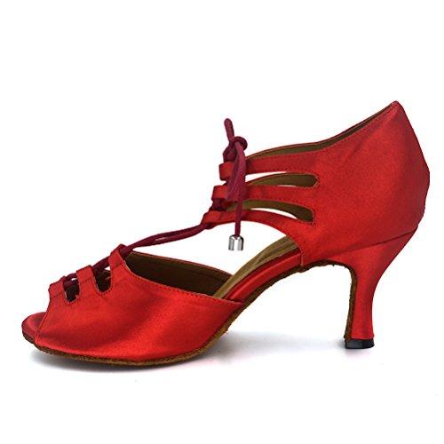 Misu Womens Sandali Peep Toe Latini Salsa Tango Pratica Scarpe Da Ballo Sala Da Ballo Con 2,75 Tacco