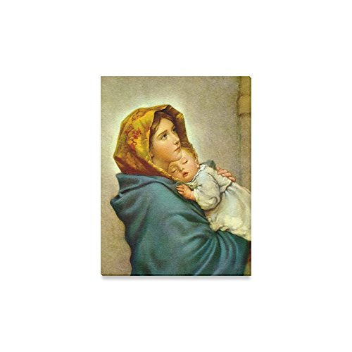 Canvas Prints Famous Wall Art Decor Inch(One Side) Catholic Virgin Mary With Baby Jesus Christ Pattern Canvas Prints- 12x16 Inch