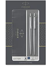 Parker Jotter Duo Gift Set with Ballpoint Pen & Mechanical Pencil (0.5mm), Stainless Steel with Chrome Trim, Blue Ink Refill, Gift Box