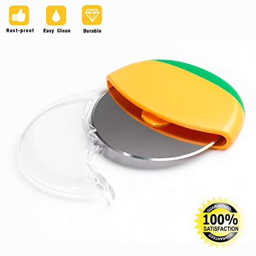 Pizza Cutter Wheel - Pizza Slicer with Protective Sliding Guard Round Cover, Easy to Clean Stainless Steel Sharp Blade for Safe Choice