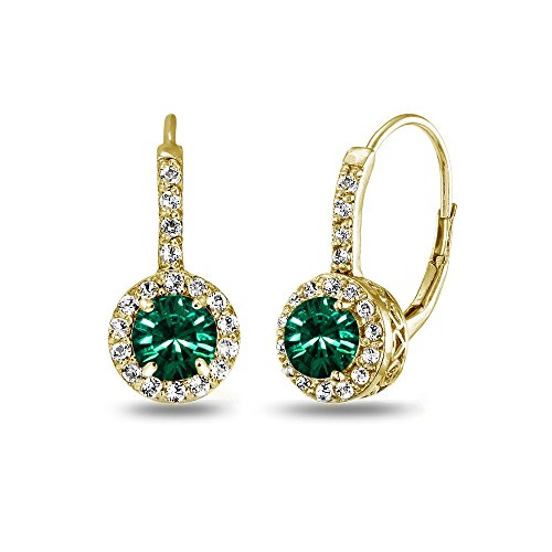 Yellow Gold Flashed Sterling Silver Green Halo Leverback Drop Earrings created with Swarovski Crystals