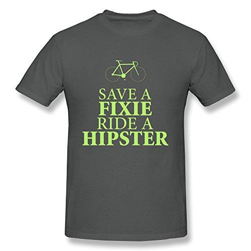 SNOWANG Men's Save A Fixie Ride A Hipster T-shirt XXL